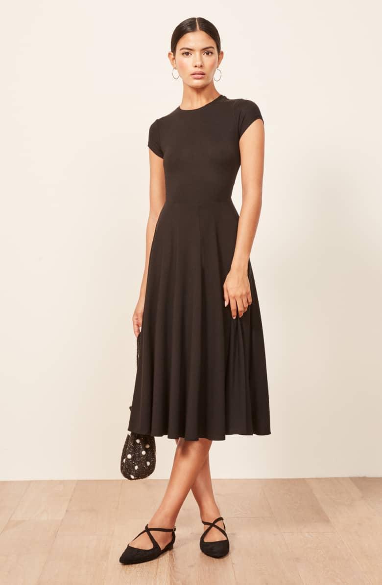 REFORMATION Ines Black Dress