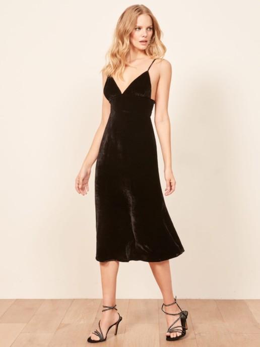 REFORMATION Melany Black Dress