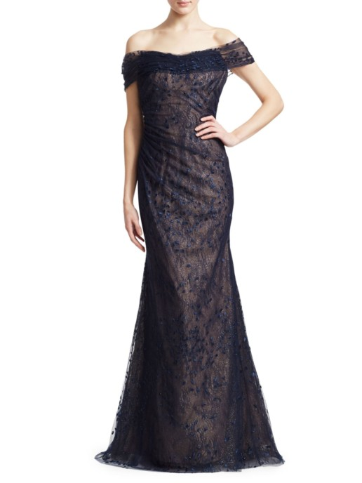 RENE RUIZ Embroidered Off-The-Shoulder Navy Gown