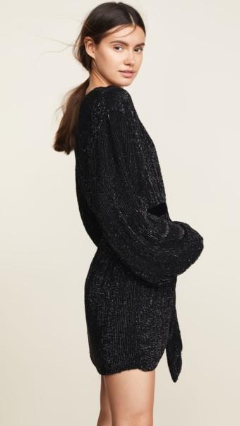 RETROFETE Gabriella Sequin Black Robe 3