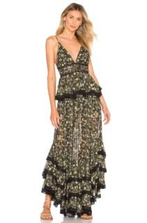 ROCOCO SAND Tiered Long Black Dress