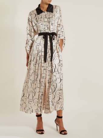 ROKSANDA Lucinda Ink Print Satin White Dress
