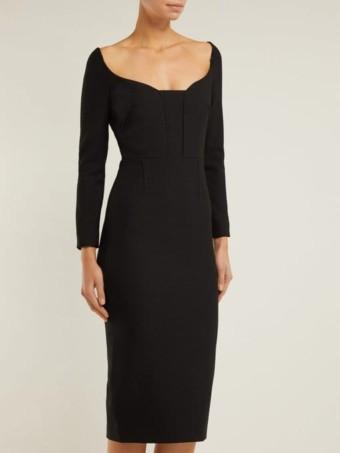 ROLAND MOURET Ardon Crepe Black Dress 2