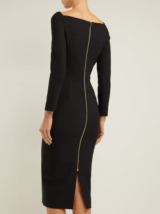 ROLAND MOURET Ardon Crepe Black Dress 3