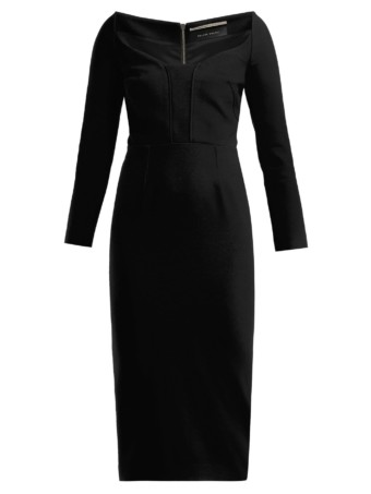 ROLAND MOURET Ardon Crepe Black Dress 4