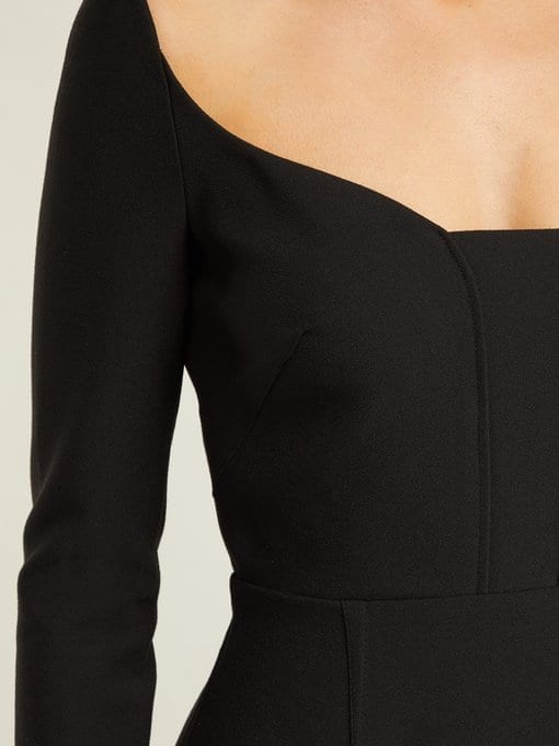 ROLAND MOURET Ardon Crepe Black Dress 5