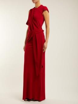 ROLAND MOURET Goldberg Asymmetric Draped Red Gown