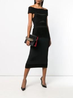 ROLAND MOURET Off The Shoulder Midi Black Dress
