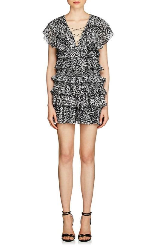 SAINT LAURENT Cheetah Print Silk Mini Black / White Dress