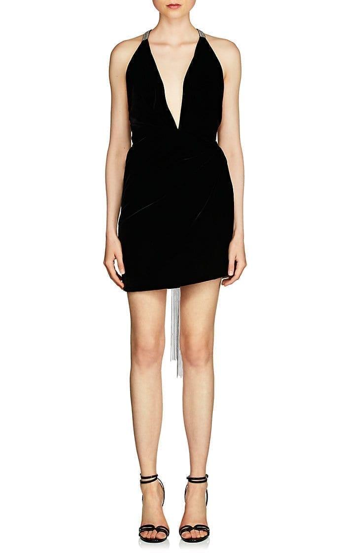 SAINT LAURENT Embellished Velvet Mini Black Dress