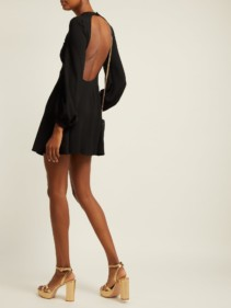 SAINT LAURENT Open Back Fluted Crepe Mini Black Dress