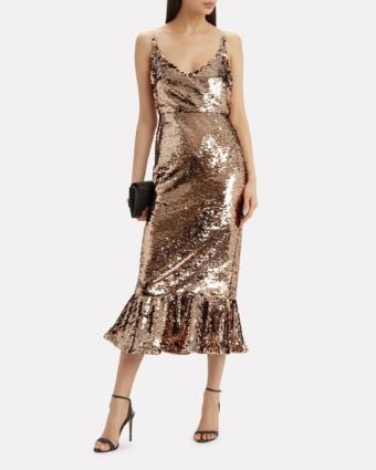 SALONI Aidan Sequin Midi Gold Dress