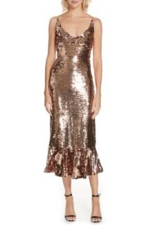 SALONI Aidan Sequin Ruffle Hem Midi Bronze Dress