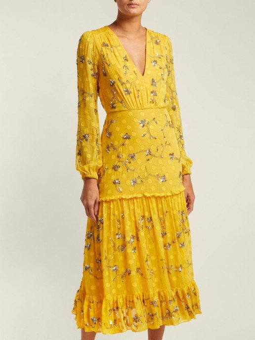 SALONI Devon Sequinned Silk Georgette Yellow Dress