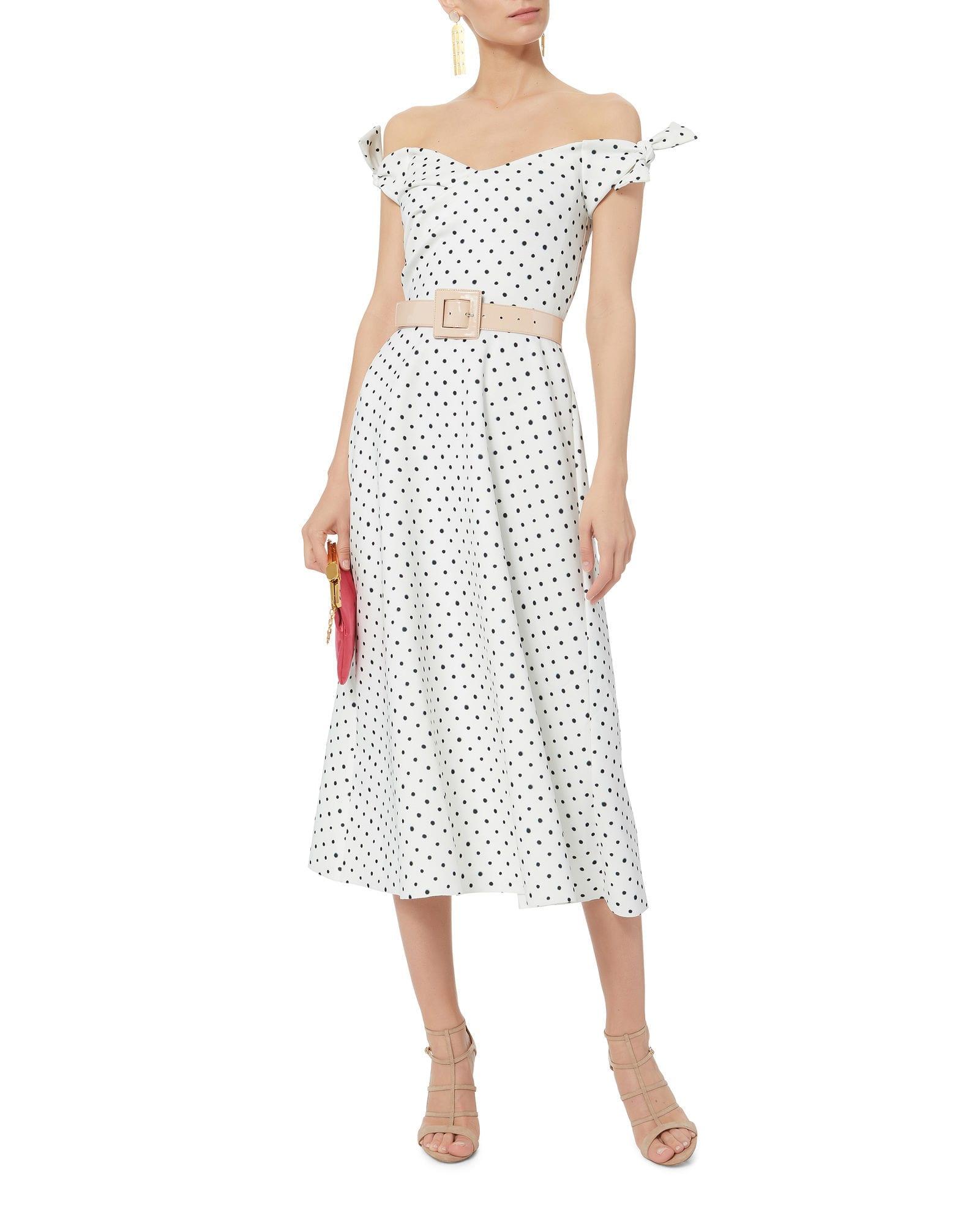 SALONI Ruth Polka Dot Midi White Dress