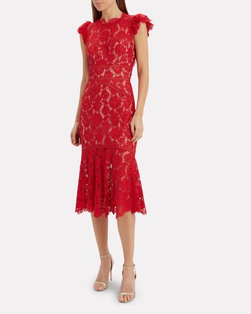 SAYLOR Maude Lace Midi Red Dress