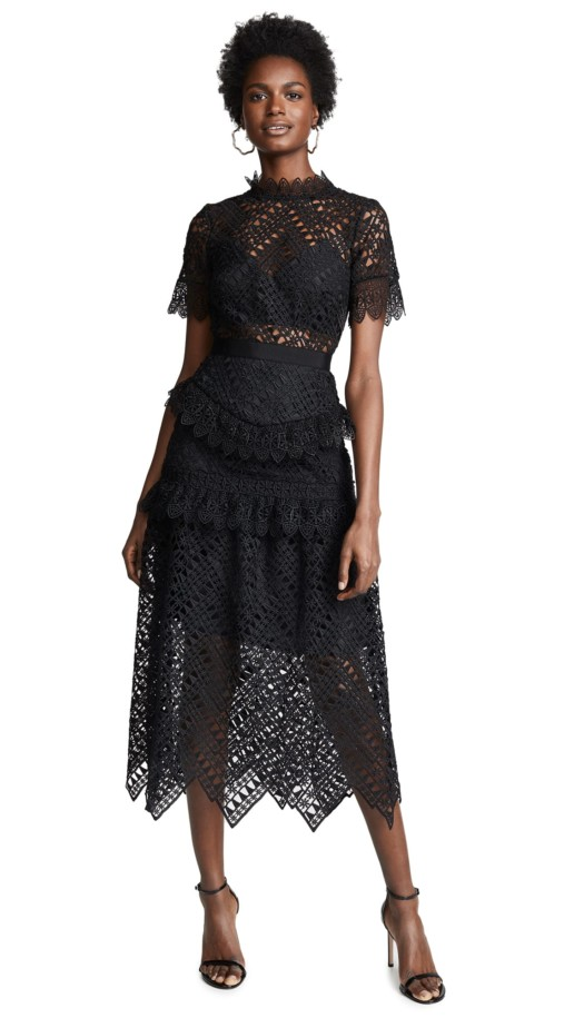 SELF PORTRAIT Abstract Triangle Lace Black Dress