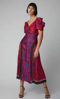 SELF-PORTRAIT-Cold-Shoulder-Floral-Print-Satin-Midi-Print-Dress