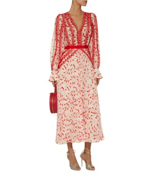 SELF-PORTRAIT Crescent Print Chiffon Red Dress