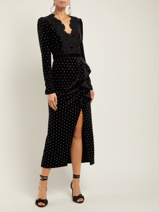 SELF-PORTRAIT Crystal-Embellished Velvet Midi Black Dress