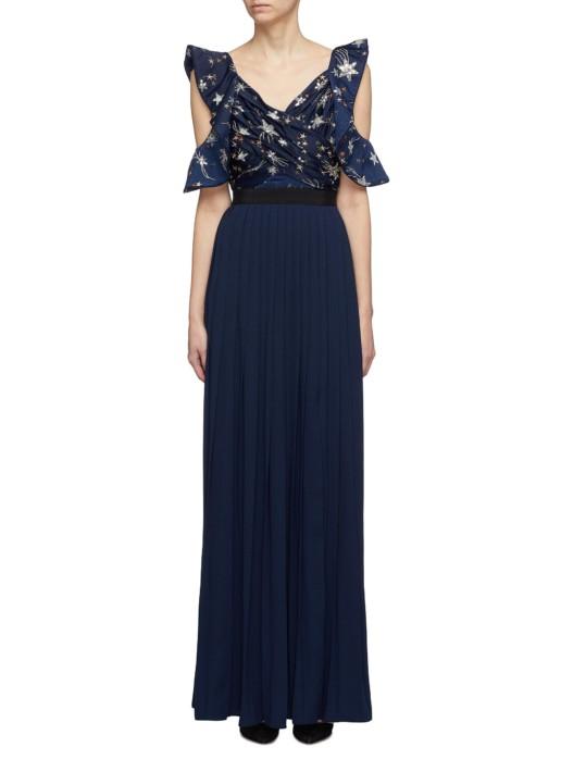 SELF-PORTRAIT Cutout Sleeve Star Sequin Pleated Navy Dress