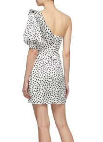 SELF-PORTRAIT Frill Puff Sleeve Graphic Print Satin One-shoulder Ivory Dress 3