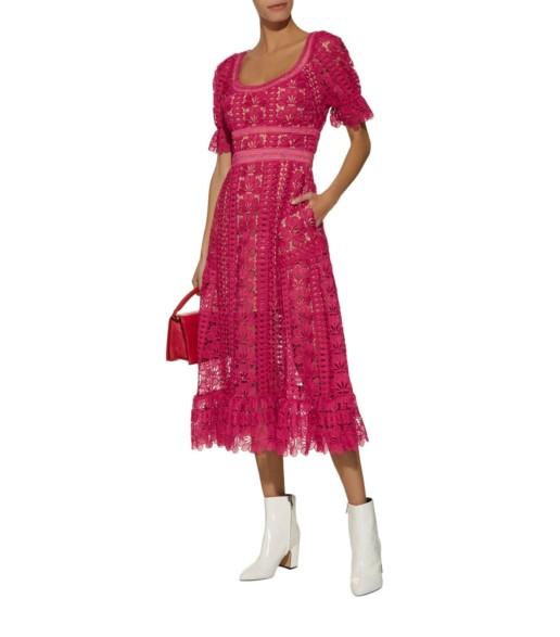SELF-PORTRAIT Guipure Lace Midi Pink Dress
