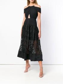 SELF-PORTRAIT Halter Chain Black Gown