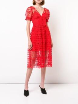 SELF-PORTRAIT Lace Tea Red Dress