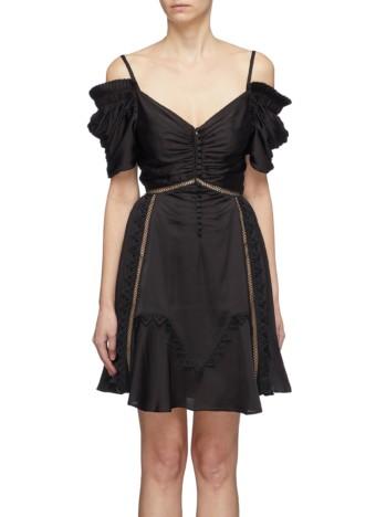 SELF-PORTRAIT Lace Trim Ruched Off-shoulder Satin Mini Black Dress 2