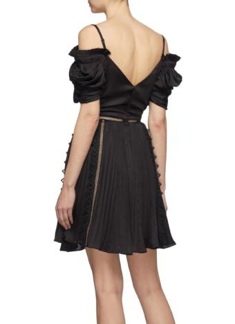 SELF-PORTRAIT Lace Trim Ruched Off-shoulder Satin Mini Black Dress 3
