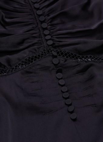 SELF-PORTRAIT Lace Trim Ruched Off-shoulder Satin Mini Black Dress 4