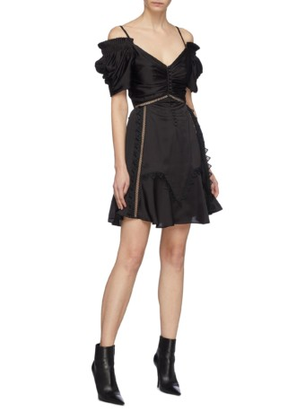 SELF-PORTRAIT Lace Trim Ruched Off-shoulder Satin Mini Black Dress
