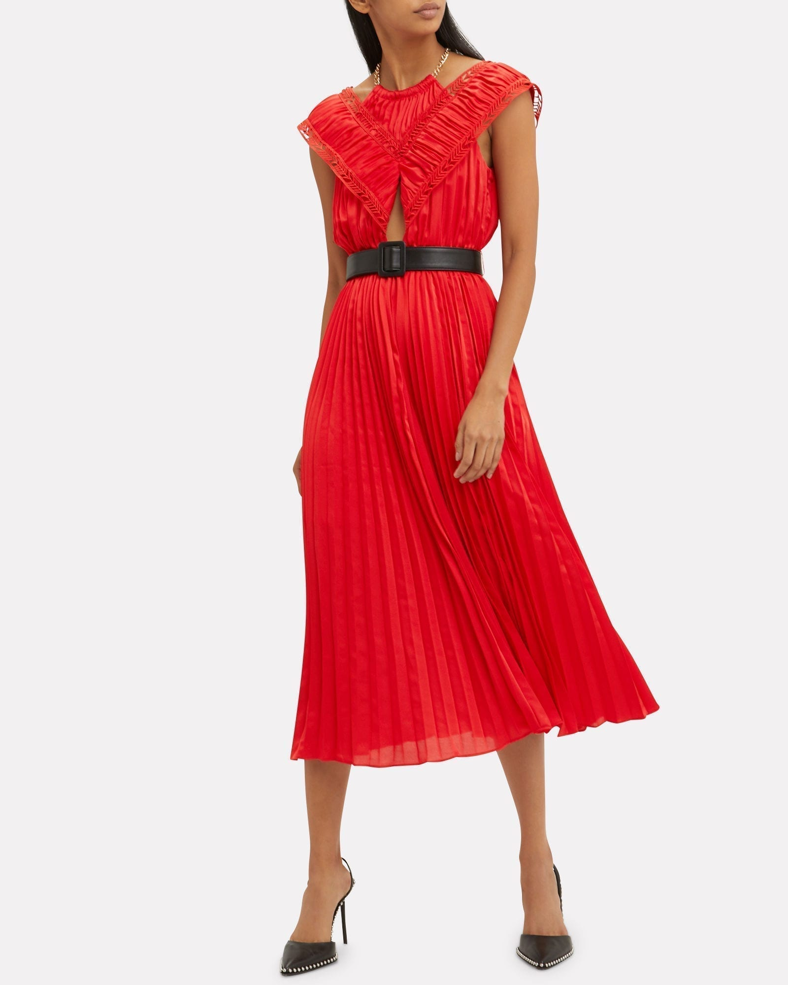 SELF-PORTRAIT Off Shoulder Pleated Red Dress