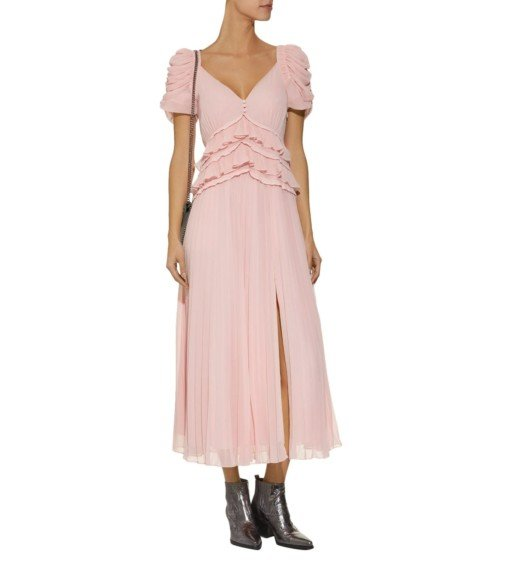 SELF-PORTRAIT Pleated Chiffon Midi Pink Dress