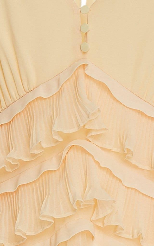 9b2cef27f09b SELF PORTRAIT Pleated Chiffon Midi Yellow Dress - We Select Dresses