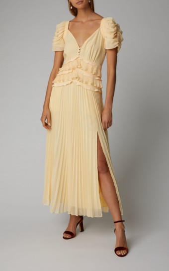 SELF PORTRAIT Pleated Chiffon Midi Yellow Dress