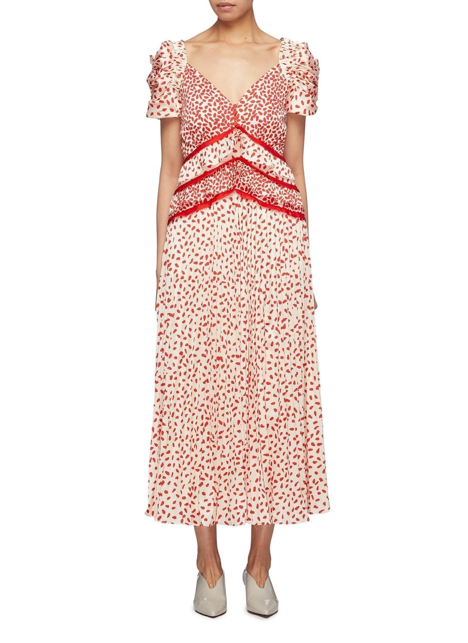 SELF-PORTRAIT Puff Sleeve Ruffle Waist Graphic Print Satin Cream Dress