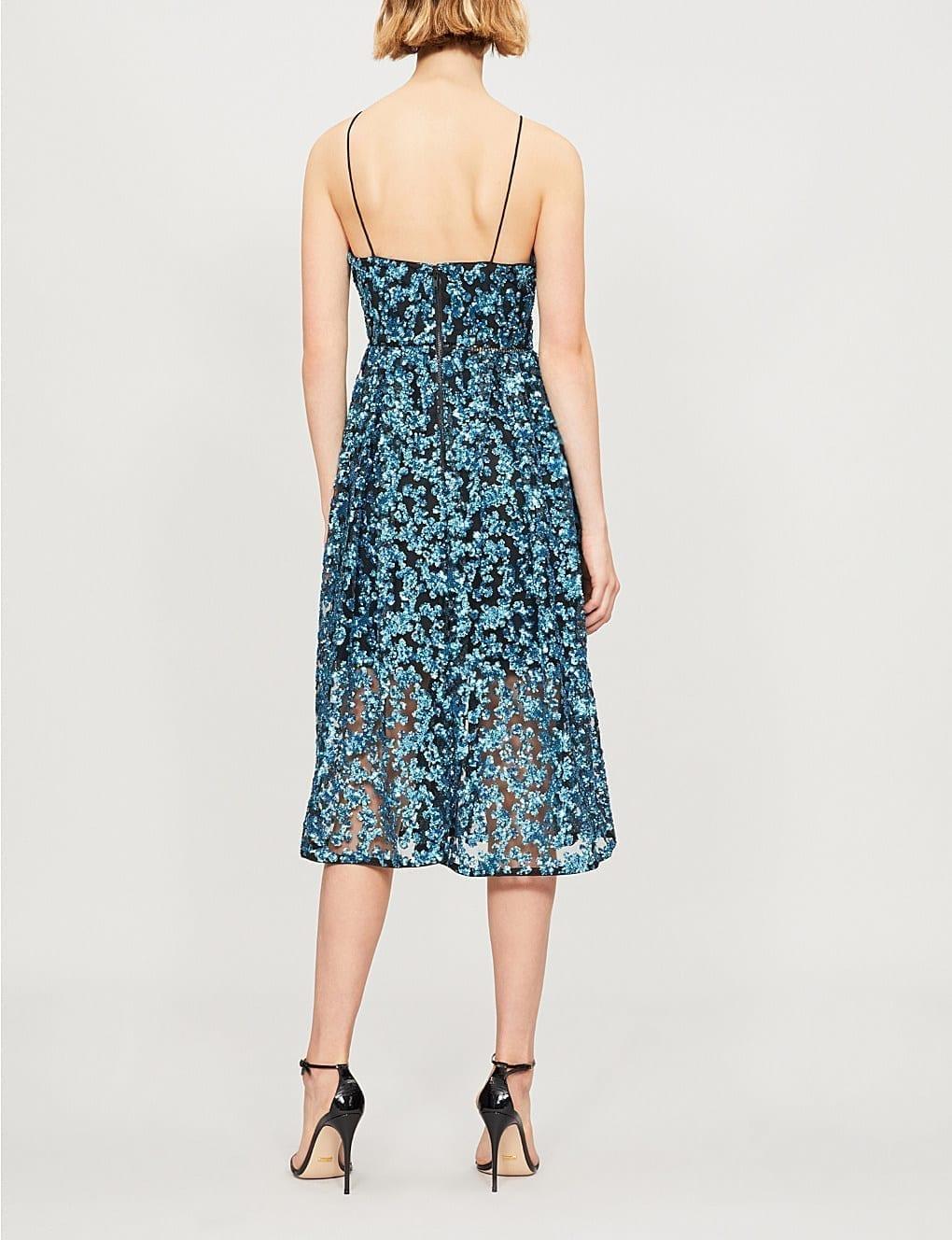 573bbfac98d3 SELF-PORTRAIT Sequin Azaelea Midi Blue Dress - We Select Dresses