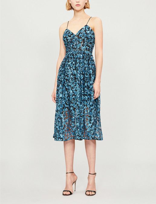SELF-PORTRAIT Sequin Azaelea Midi Blue Dress
