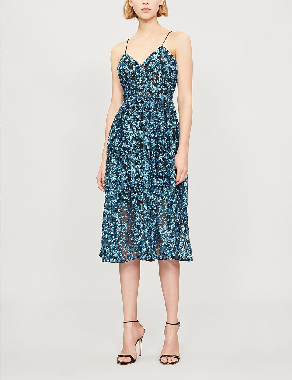 2272e31da226 SELF-PORTRAIT Sequin Azaelea Midi Blue Dress - We Select Dresses