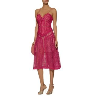 SELF-PORTRAIT Spiral Lace Midi Pink Dress