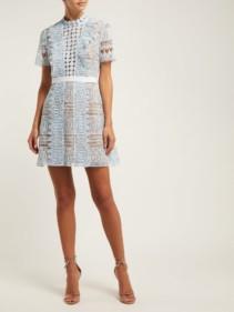 SELF-PORTRAIT Spiral-Lace Mini Blue Dress