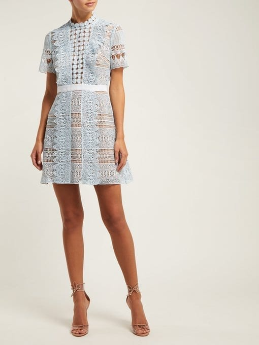 SELF-PORTRAIT Spiral-Lace Mini Blue Dress