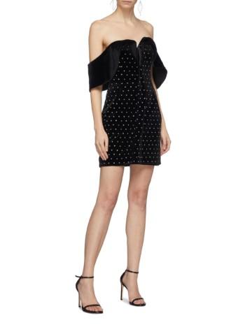SELF-PORTRAIT Strass Velvet Off-shoulder Mini Black Dress