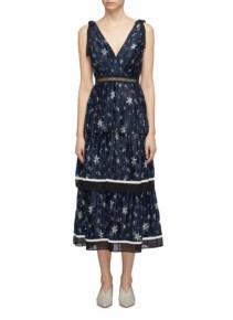 SELF-PORTRAIT Tie Shoulder Pleated Tiered Star Print Satin Navy Dress
