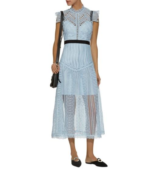 SELF-PORTRAIT Triangle Lace Midi Blue Dress