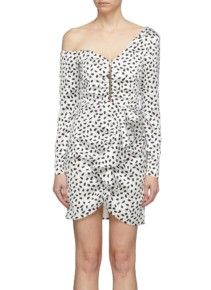 SELF-PORTRAIT Zip Front Ruffle Graphic Print Satin One-shoulder Ivory Dress 2