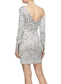 SELF-PORTRAIT Zip Front Ruffle Graphic Print Satin One-shoulder Ivory Dress 3