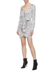 SELF-PORTRAIT Zip Front Ruffle Graphic Print Satin One-shoulder Ivory Dress